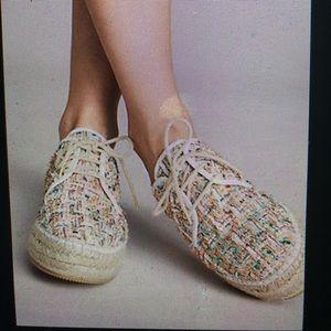 Anthropologie Tweed Espadrille Sneakers Size 9.5